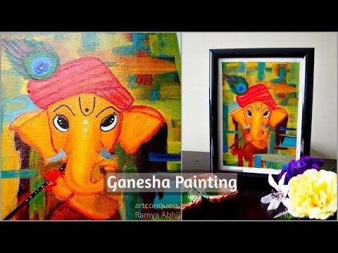 Ganesha painting on canvas|Acrylic painting for beginners|Canvas Painting Ideas|Abstract painting