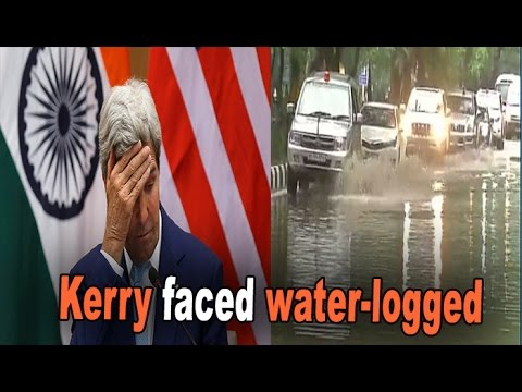 John Kerry's motorcade wades at snail's pace through Delhi's water logged roads : NewspointTV