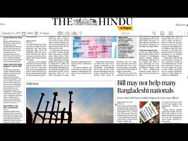 21 January 2019 Current Affairs The Hindu  Important Headlines  by Mrs Bilquees Khatri