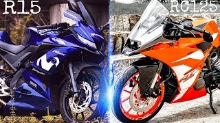 KTM RC125 VS YAMAHA R15 V3   RC125 AND R15 VS COMPARISON   RICH INDIA MOTO