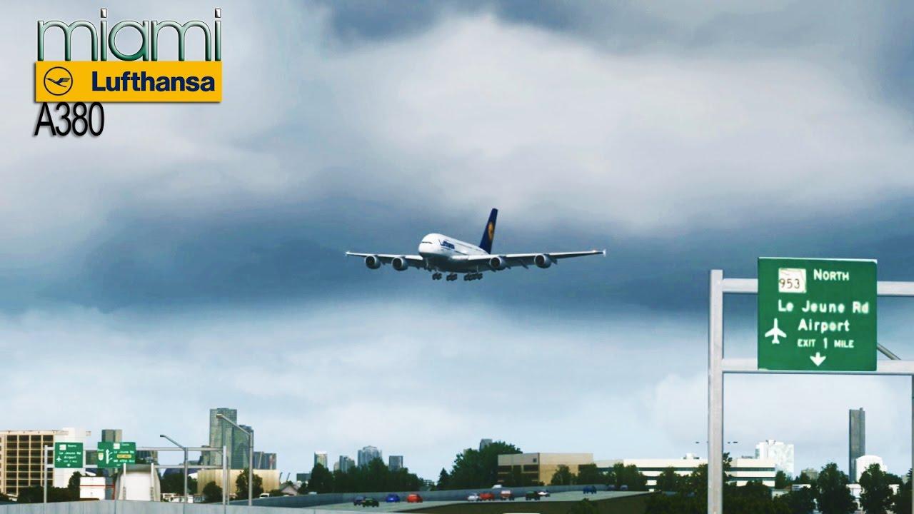 FSX [HD] - Lufthansa   Airbus A380   Approach to Miami