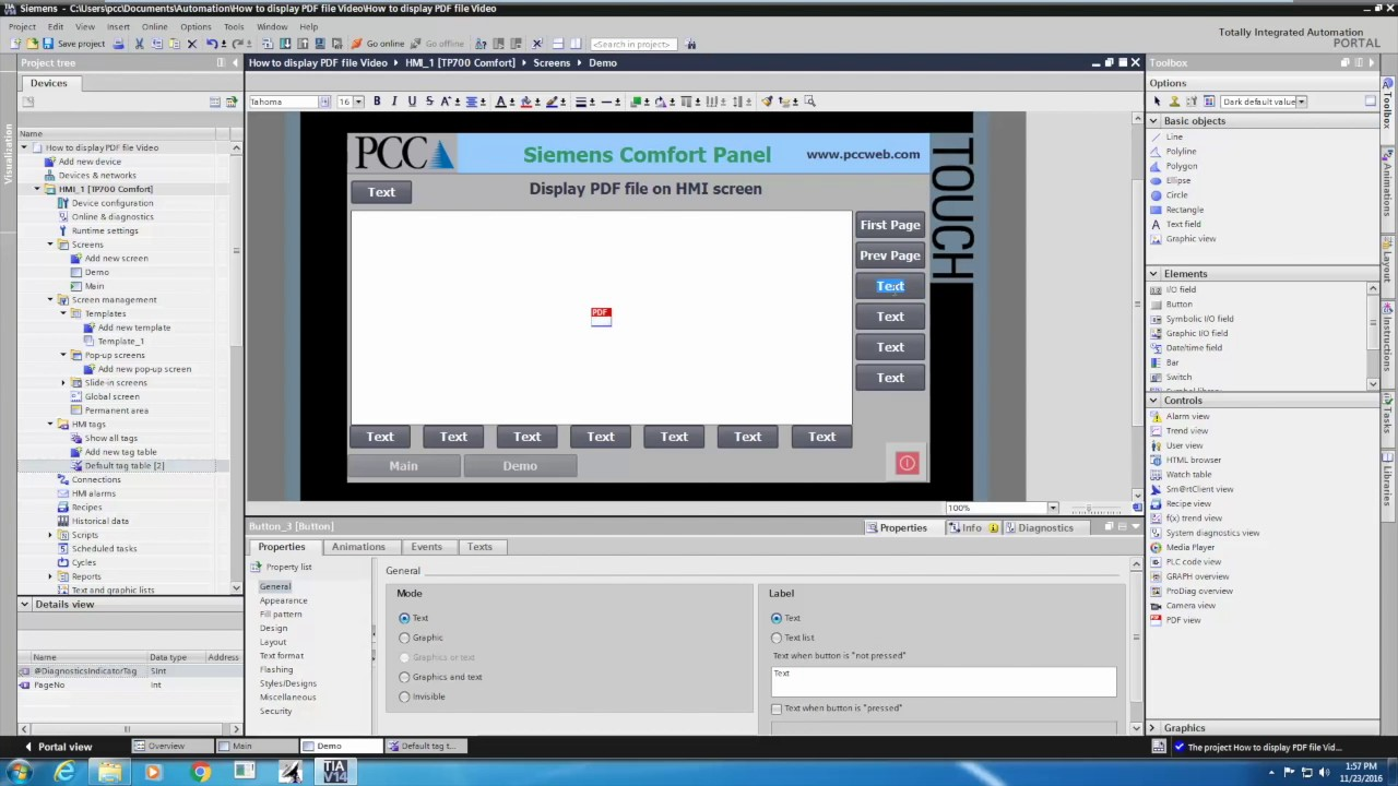 How to display a PDF file on a Siemens Comfort Panel HMI