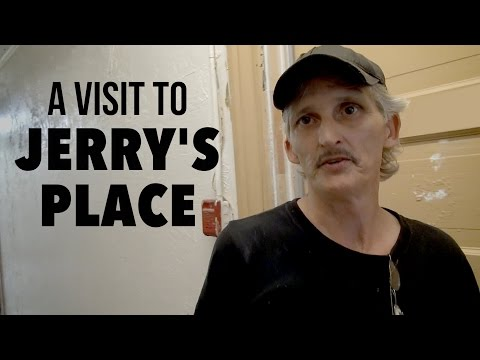Jerry shows us his room at his SRO residential hotel in the Tenderloin neighborhood of San Francisco