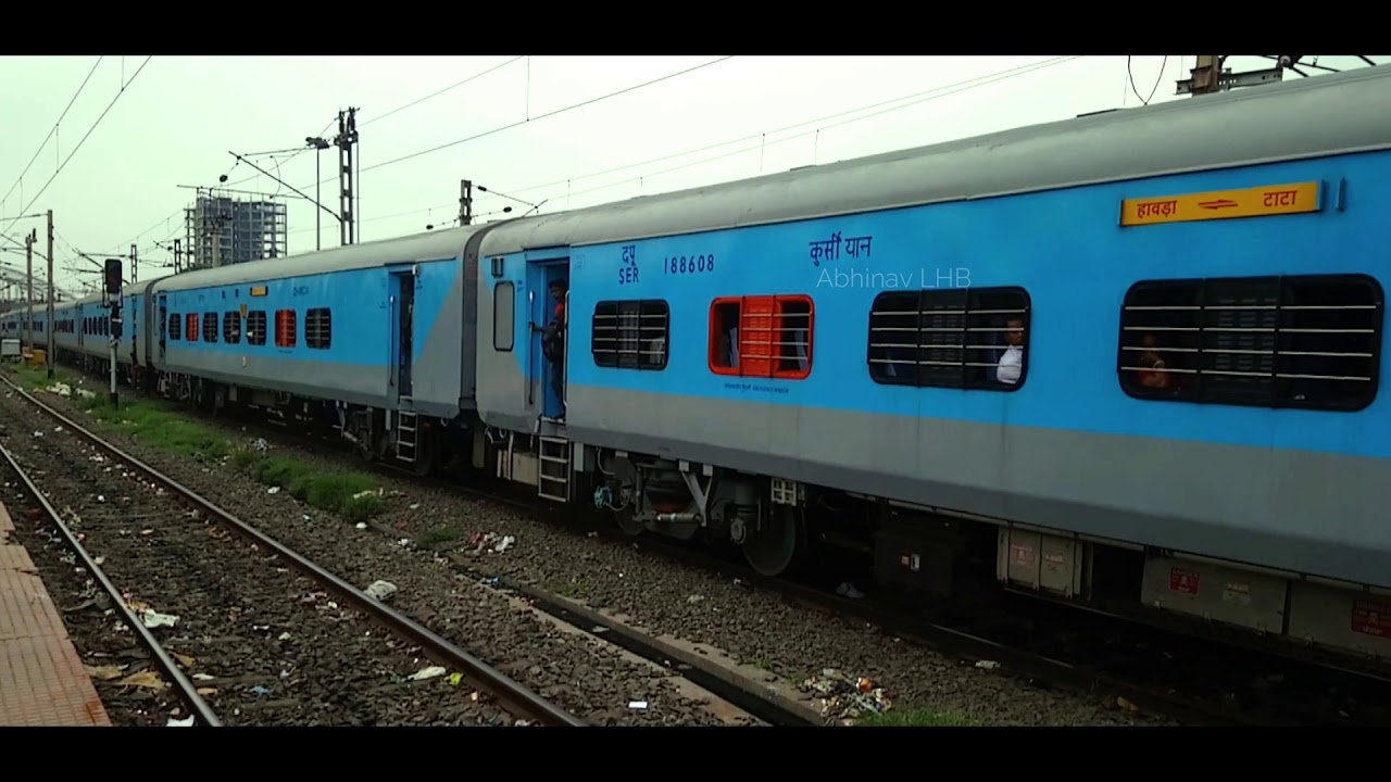 STEEL EXPRESS (Tatanagar - Howrah) with Stainless Steel LHB coaches   Arrives Howrah with SRC WAP6