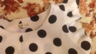 white blouse with polka dots ordered from aliexpress