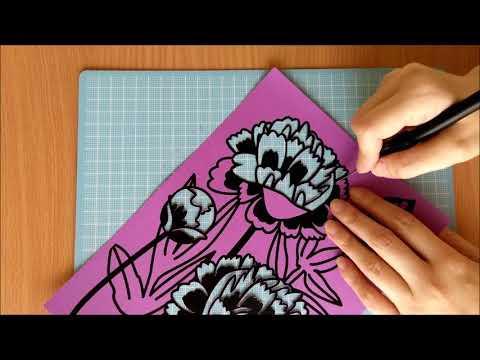 【paper cutting art】切り絵 その4 芍薬を切り絵にしてみました。