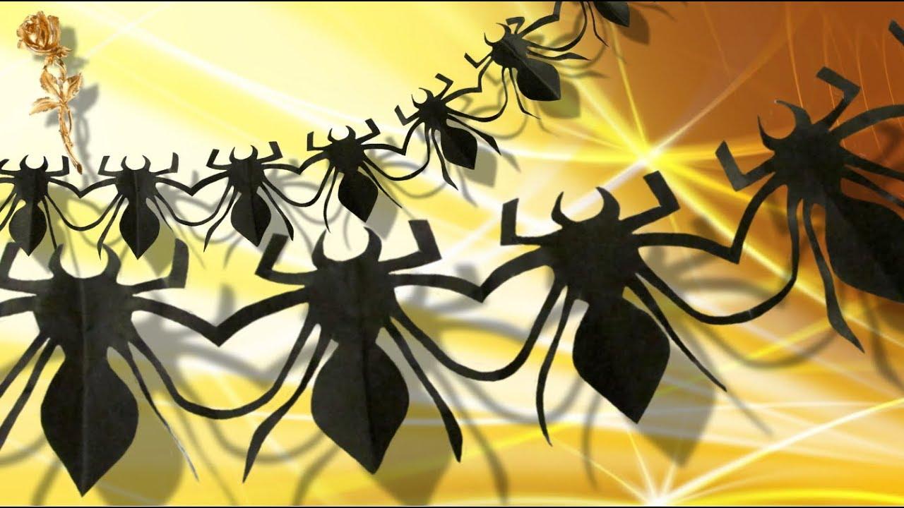 guirlande 🕷 d'araignées 🕸 découpée en papier - youtube
