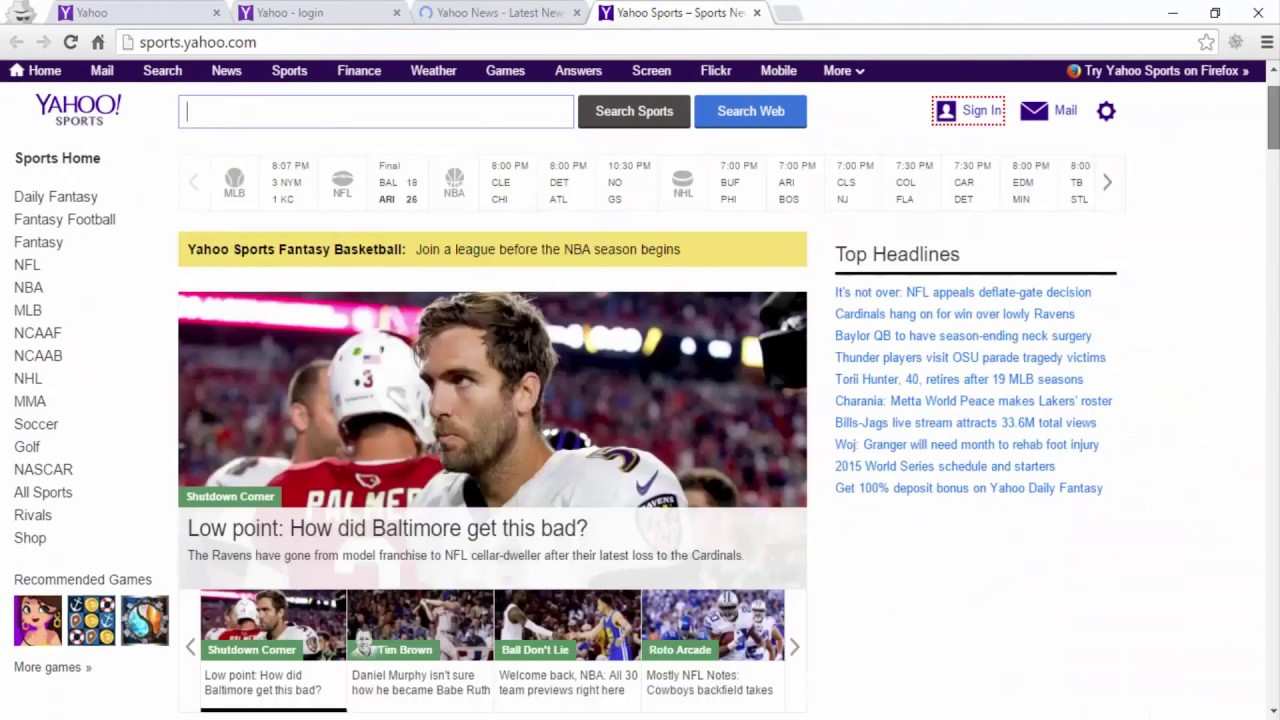 Yahoo Search News Homepage Sign In