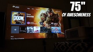 """Playing Xbox one X on an INSANE 75"""" screen BenQ TH671ST Digital projector"""