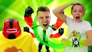 Онлайн видео с Бен 10 - Омниверс сделал Кирилла Супергероем! - Игры стрелялки для мальчиков.