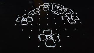 Easy Rangoli Flowers Design with 9X3X3 Dots | Muthyala Muggulu Designs | Telugu Muggulu