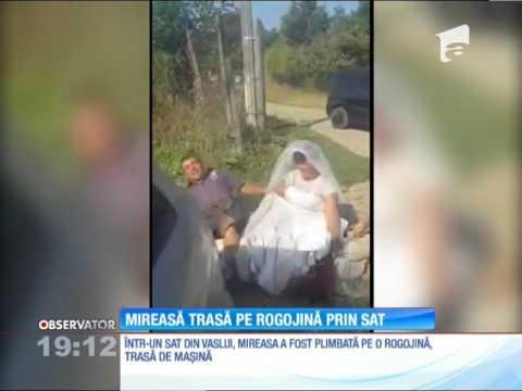 O nuntă din Vaslui a devenit virală pe Internet! Mirele şi mireasa s-au plimbat prin sat pe o rog
