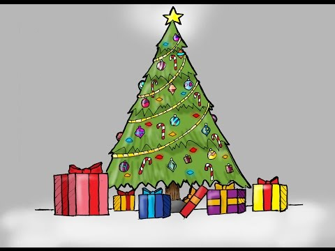 How To Draw A Christmas Tree With Presents (For Kids)