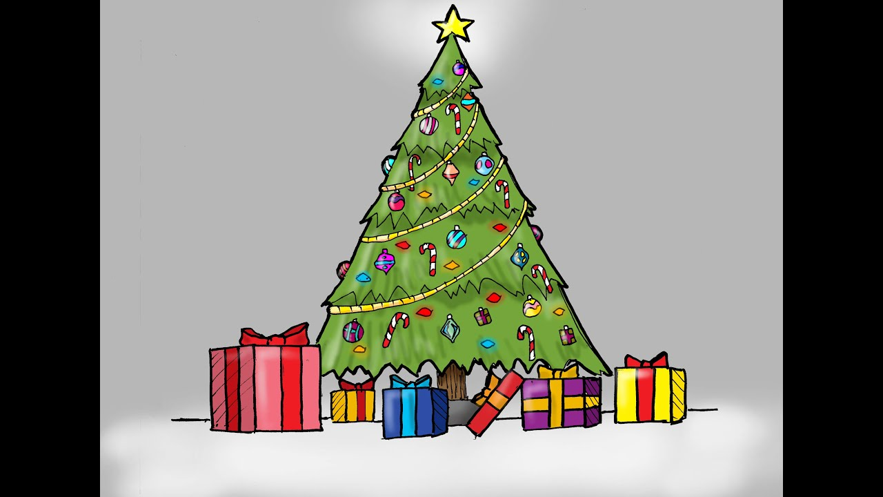 Drawings Of Christmas Presents.How To Draw A Christmas Tree With Presents For Kids