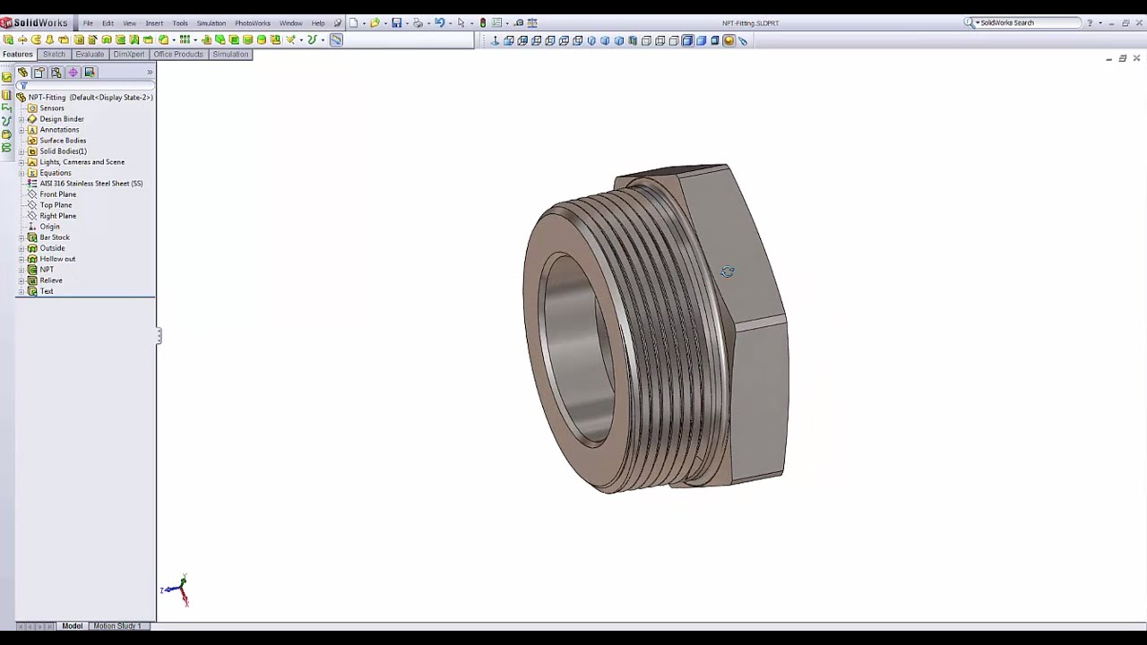 NPT threads in SolidWorks - Tutorial - YouTube