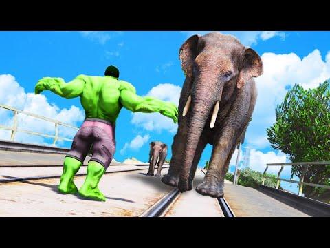 Download GTA V - Can HULK Stop The Elephant - Euphoria Physics, Funny Moments