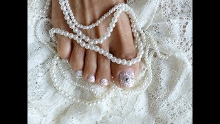 Wedding Glittery French Lace Pedicure Toes Art Design Elegant Long Toes Easy Beginners Tutorial