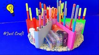 Creative Pen Stand | Desk Organizer | Best Out of Waste Ideas | Just Craft