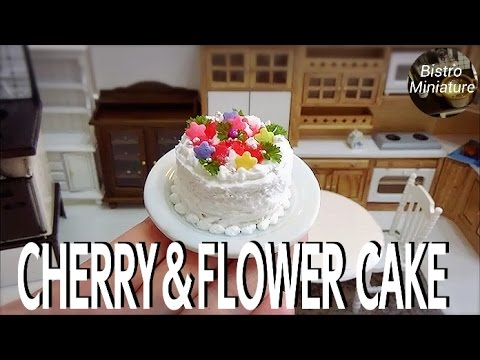 Mini food #122 『Cherry & Flower Cake』How to make Miniature food (edible) Tiny food ASMR ミニチュア料理