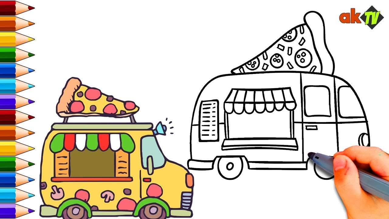 Kids Would Love To Color These Cute Pizza Trucks
