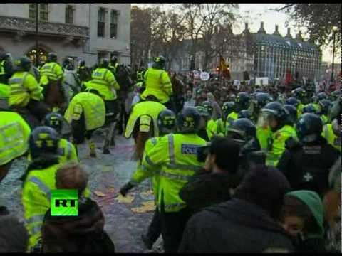 Graffiti Riot: Paint bombs fly at cops as students rage in London