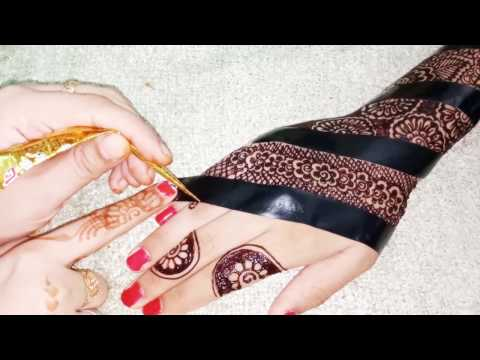 Beautiful And Creative Henna Design With Cello Tape/Learn Easy Techniquse Of Mehndi With Celo Tap