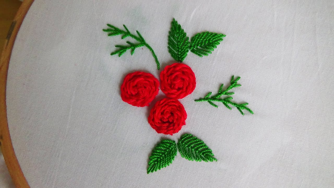 Hand embroidery stem stitch roses youtube