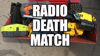Job Site Radio Tool Fight - Dewalt vs Milwaukee vs Makita vs Bosch vs Ryobi vs Ridgid