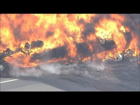 Tanker truck burning in New Jersey