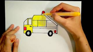 How to draw a garbage vehicle/ rubbish truck【Ginger