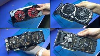 Ремонт 6-ти ВИДЕОКАРТ: GTX 1060 (майнинговая) | GTX 760 (КОД 43) | GTX 650TI | RADEON RX570
