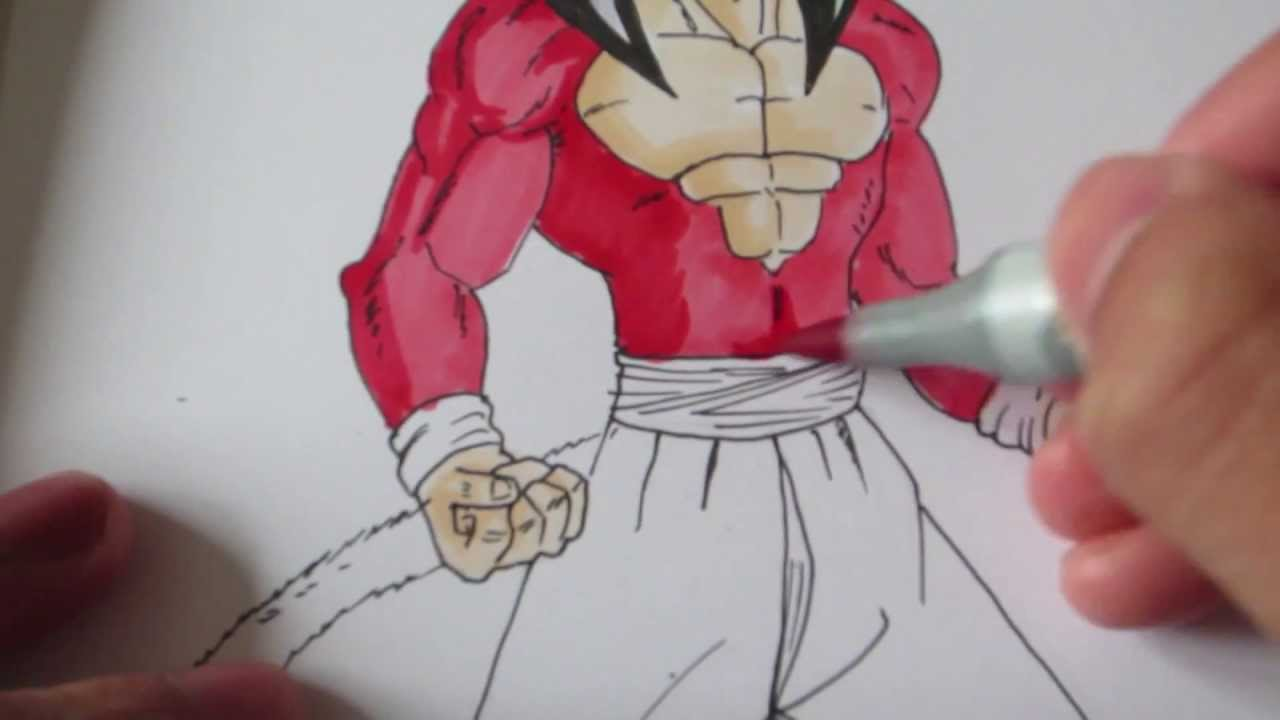 How To Draw Goku Super Saiyan 4 Ssj4 Jb4 Youtube