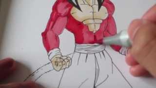 How to draw Goku Super Saiyan 4 SSJ4 .jb4
