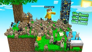 My SKY BLOCK Got SPAMMED With RABBITS! (Minecraft)
