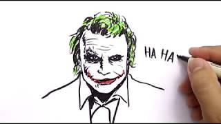 VERY EASY ! how to draw JOKER from BATMAN DARK KNIGHT , CARTOONS for KIDS / learn how to draw