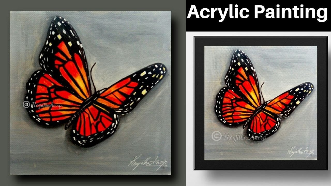 easy painting - acrylic painting - butterfly - how to ...