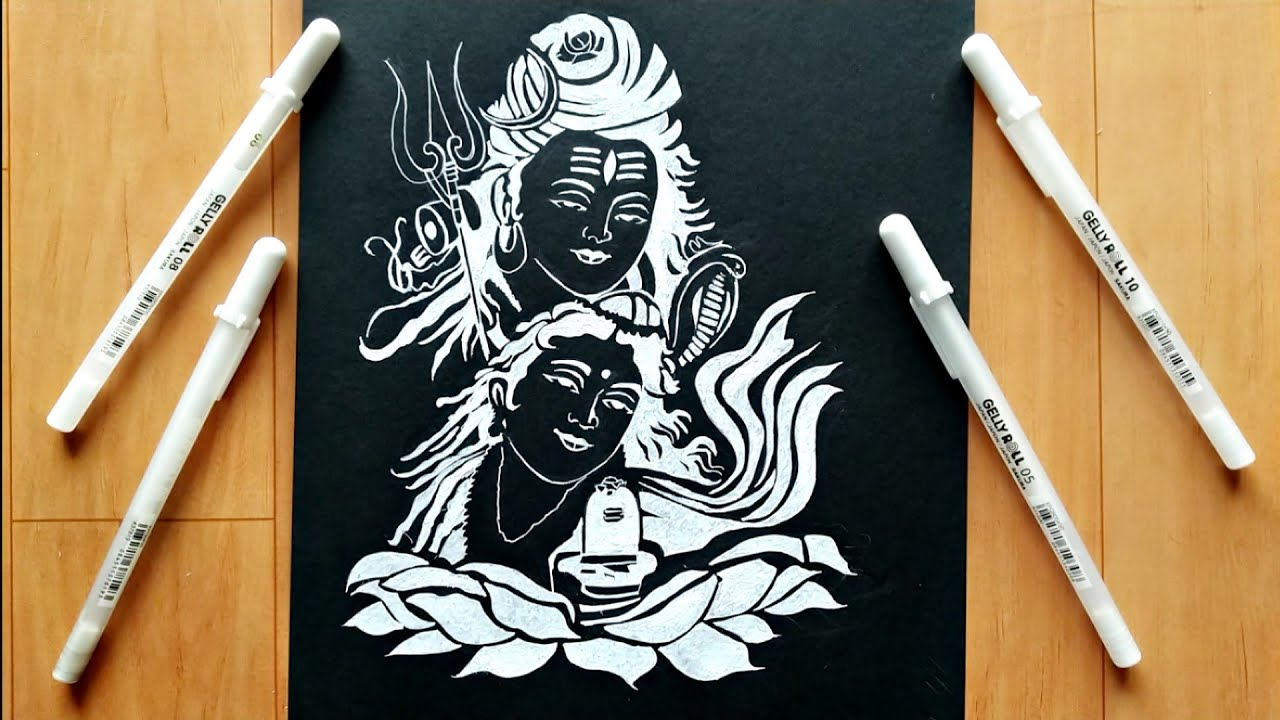 Drawing shiv ji on black paper