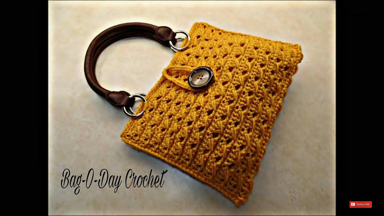 e986c4292bfe CROCHET How To #Crochet Cross Cable Handbag Purse TUTORIAL #351 ...