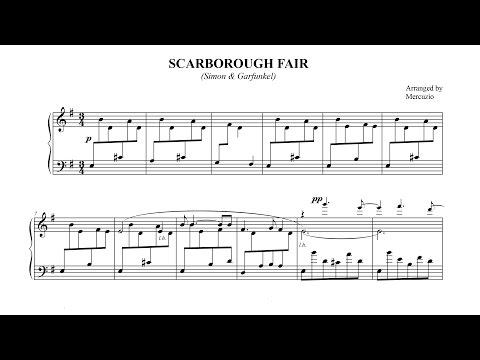 """Scarborough Fair"" (arr. Mercuzio) FREE SHEET MUSIC - P. Barton, piano"