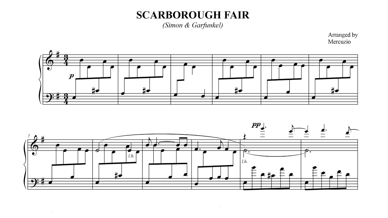 """Scarborough Fair"" (arr  Mercuzio) FREE SHEET MUSIC - P  Barton, piano"