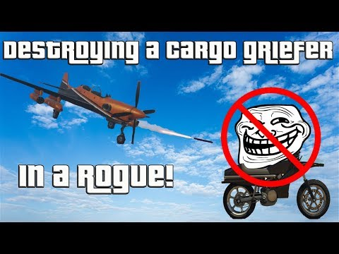 GTA Destroying a Cargo Griefer with a Rogue