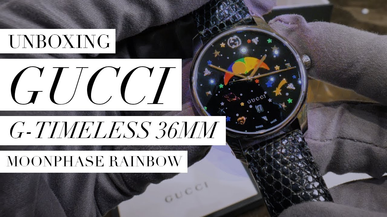 0cd7022605a Gucci G-Timeless 36mm Moonphase Rainbow UNBOXING  Design