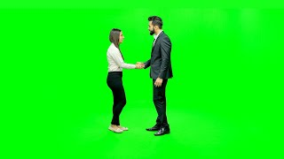 Boy and a girl dressed professionally meeting and talking to each other against the green screen