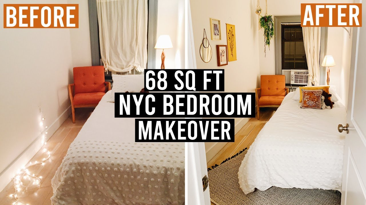 68 Sq Ft Nyc Bedroom Makeover Easy Cheap Diy Decor Ideas Youtube