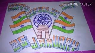 How to draw republic day drawing|Happy republic day|26 january drawing|Tricolor drawing|Easy drawing