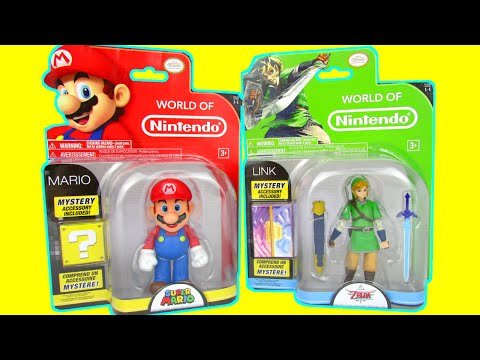 World Of Nintendo Mario vs Zelda Link Mystery Weapons Figures Toy Review Unboxing Jakks Pacific Toys