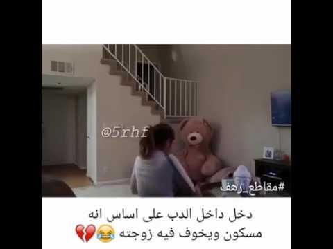 دخل داخل الدب اللعبه يبي يخوف زوجته على ان الدب فيه جني 😂😂