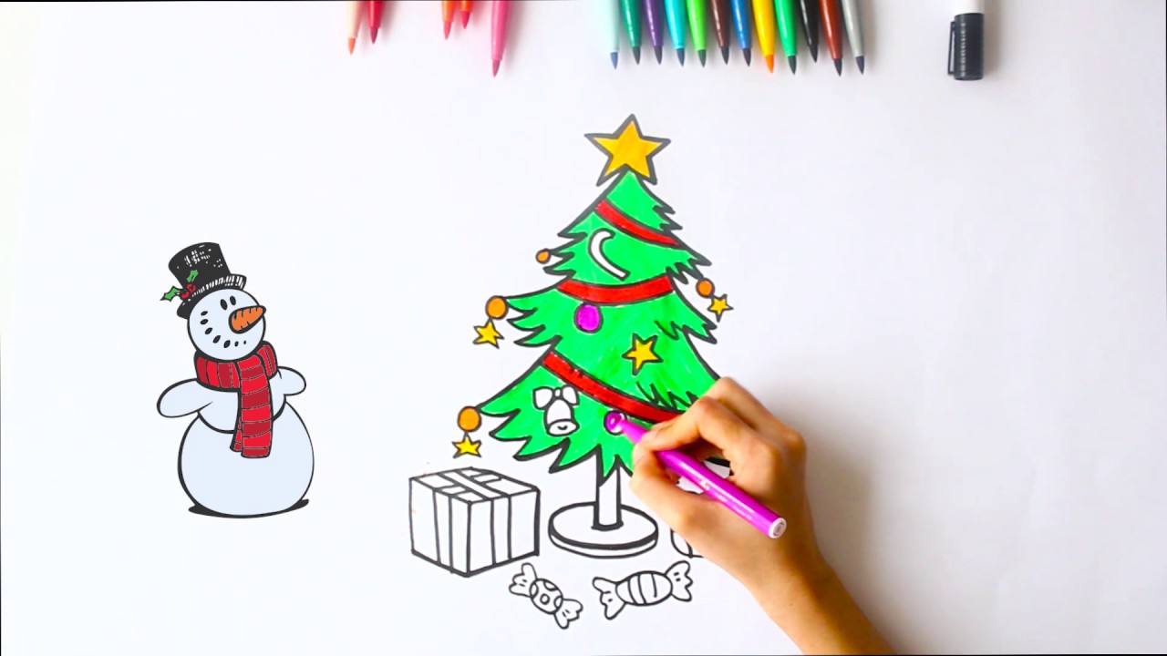 Christmas Tree Ornaments Coloring And Drawing For Kids Yılbaşı