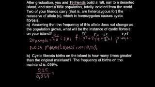 Population genetics - Founder effect problem solution