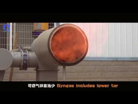 Nutshell, palm shell, coconut shell, rice husk, wood chips gasification to produce syngas, heating